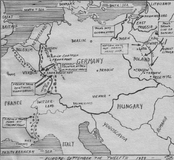 The Map of Europe as I drew it for my Midshipman's Journal on the 12th, of September 1939