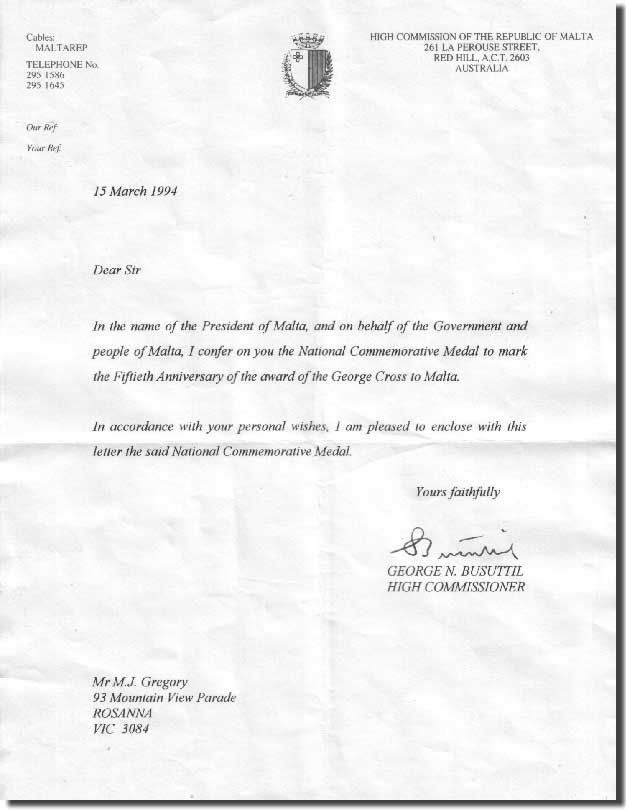 Letter from the High Commissioner, The Republic of Malta