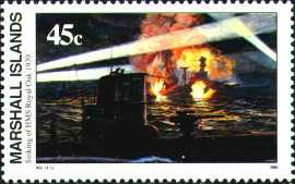 This Marshall Islands stamp depicts Gunter Prien sinking Royal Oak, after he penetrated Scapa Flow