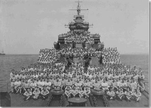 Shropshire and her crew in Lingayen Gulf, January 1945.