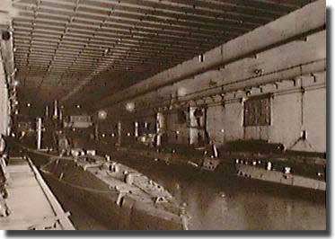 Inside one of the pens at St Nazaire in 1945