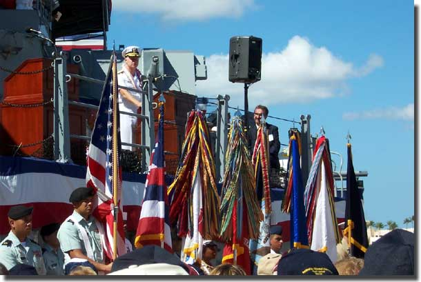 Admiral Gary Roughead gives the Key Note Address, with the Colors paraded in front
