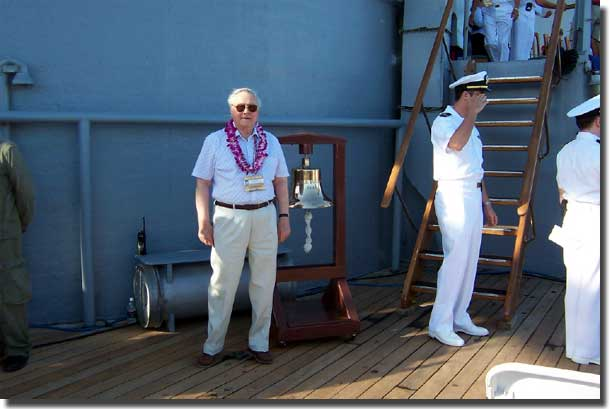 Mackenzie Gregory on board USS Missouri before the ceremony