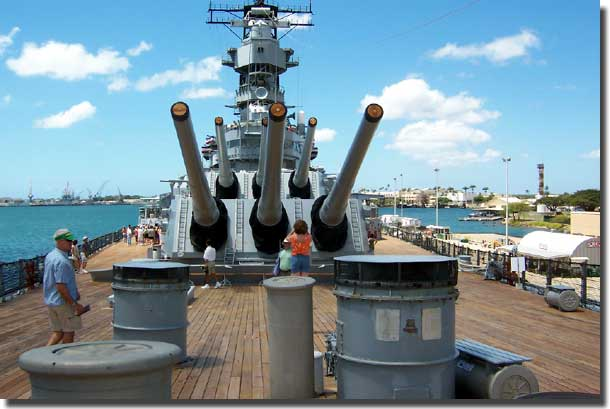 No 1 and No 2 turrets from the forecastle