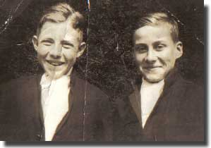 Norman White on left, and myself at the Naval College in our first year in 1936.