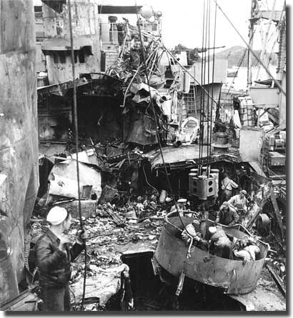 US ship badly damaged by a Kamikaze attack, off Okinawa