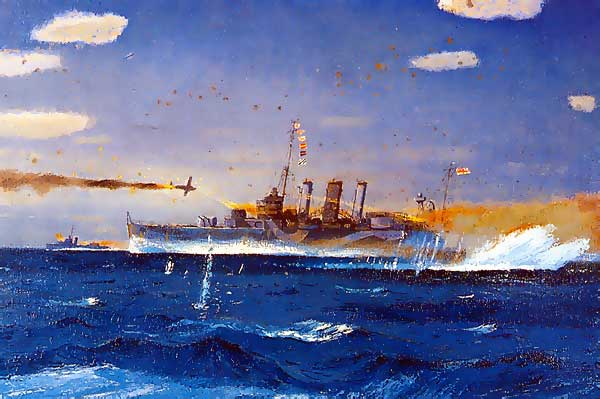HMAS Australia under attack Coral Sea May 7th. 1942. Painting by Frank Norton