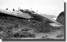 A Heinkel III bomber crashes in East Lothian, the first German plane shot down over Edinburgh by RAF fighters