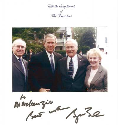 In Washington John Howard, George Bush, McKenzie Gregory, Denise Gregory