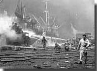 Allied ships burn at Bari, December 1943 - click to read more