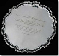 Photo of a lovely Silver Salver presented to HMAS Canberra / Shropshire Association - click to read more