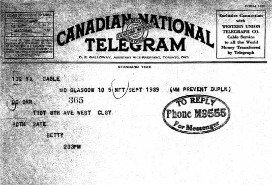 Telegram sent from Glasgow