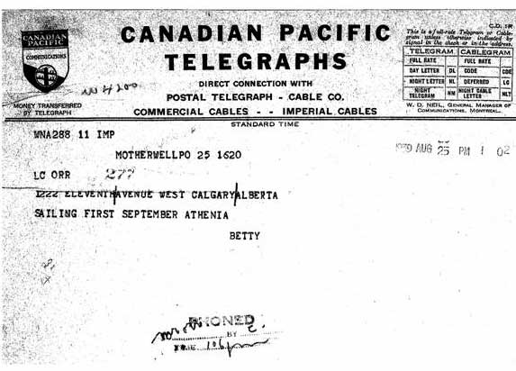 Telegram indicating Sailing in Athenia