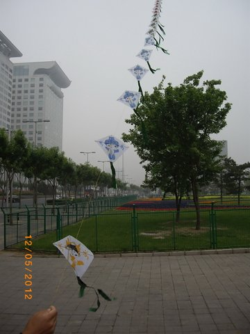 Man flying multiple kites on a single string at Beijing. He desperately tried to get us to buy a set of kites. But Our Kite Flying days are well gone
