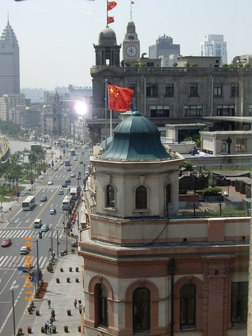 The Bund from our Hotel window in Shanghai