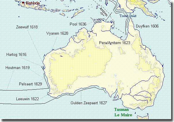 Map of Australia showing the tracks of the early Dutch Explorers