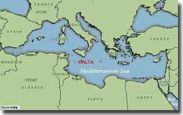 The strategic significance of Malta may be seen from this map of the area