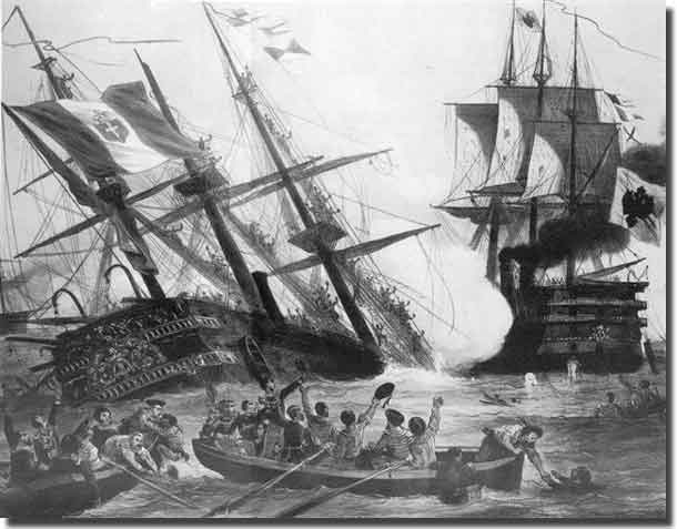 Sinking of Italian Red'Italia after being rammed by Austrian flagship Ferdinand Max, at the Battle of Lissa in the Adriatic Sea, 20th. July 1866.