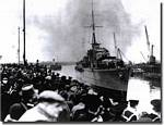 HMS Cossack arrives at Leith, Scotland with her load of British Merchant Captains,