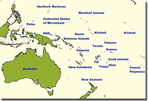 Map showing the position of Federated States of Micronesia