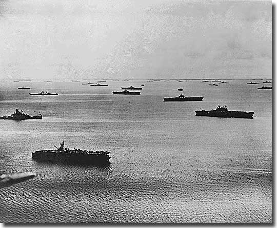 Task force 58, peacefully at anchor at Majuro Atoll after the attack on Japanese stronghold of Truk in February 1944.