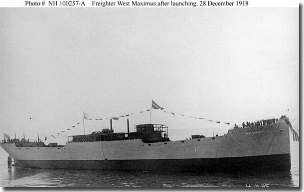 US freighter West Maximus built in 1918, sailed in Convoy ONS 5, to be sunk by U- 264 
