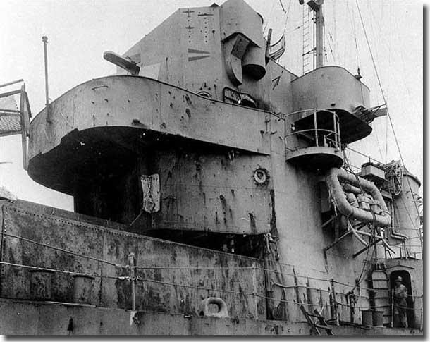 USS England damaged by a Kamikaze aircraft
