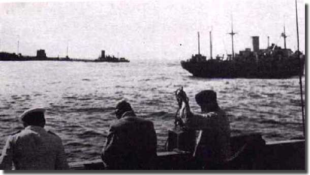 meeting of Doggerbank with Michel and the Tanker Charlotte Schliemann in June of 1942, The Tanker on the left, Doggerbank on the right, and the photo must be taken from Michel
