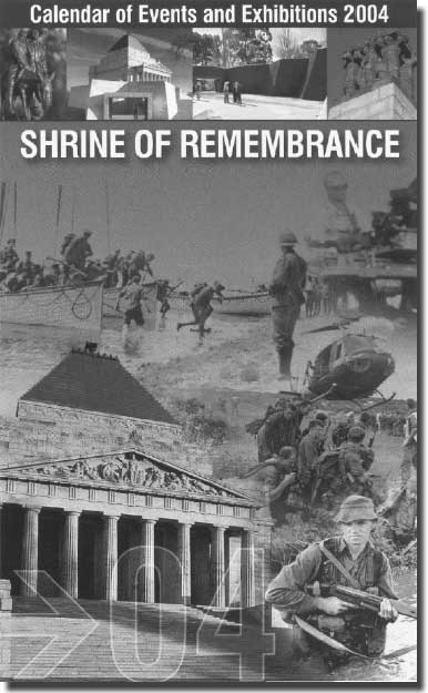 Front of Shrine of Rememberance brochure featuring HMAS Sydney