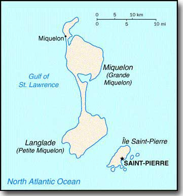 St Pierre and Miquelon, Islands in Atlantic. Captured by Surcouf and two French Frigates in December 1941.