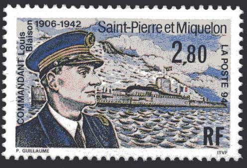 Stamp to mark the capture of the island of St Pierre, it took but 15 minutes to subdue in December 1940.