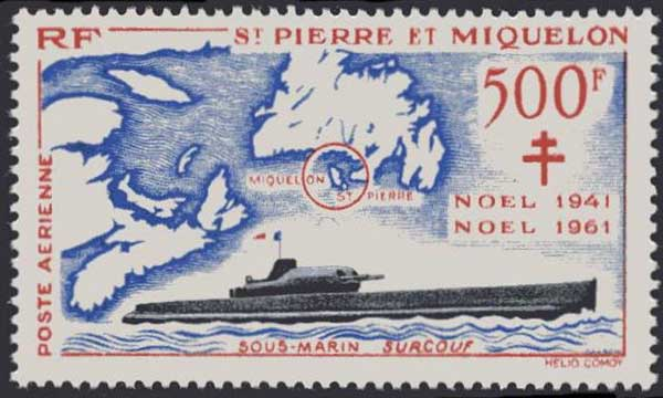 ir Mail stamp to mark the capture of the islands of St Pierre and Migulon