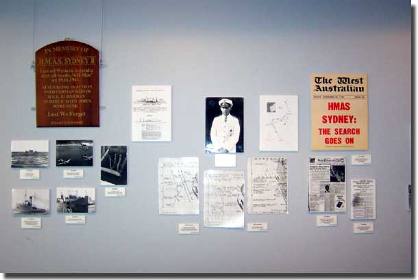The back wall with the Kormoran pieces including a picture 