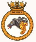 The ship's badge for HMS Dasher - click to learn more