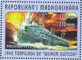 A Madagasgar stamp issued in 1998 depicting the torpedoing of the Wilhelm Gustloff.