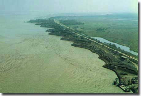 Levee banks at Kaifeng. Built to overcome the flooding prone to the Yellow River