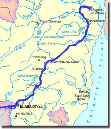 Map showing the course of the Amur river