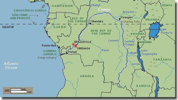 Map of Congo River