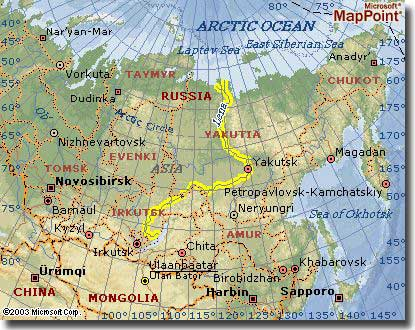 Map of Lena River, Russia