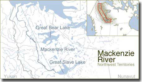 Map showing the Mackenzie River, flowing north to the Arctic