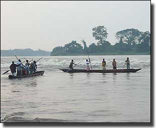Wooden canoes still in use for fishing on the Congo River