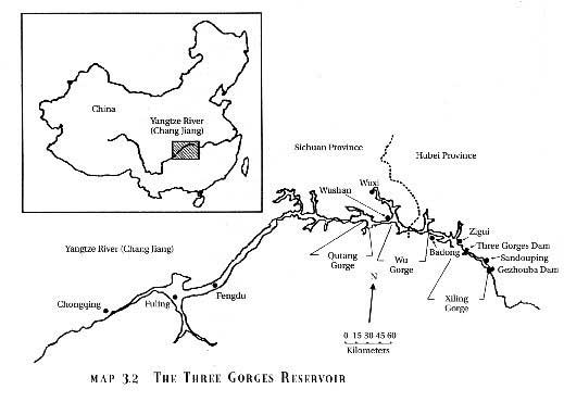 The Yangtze River and the Three Gorges Dam location